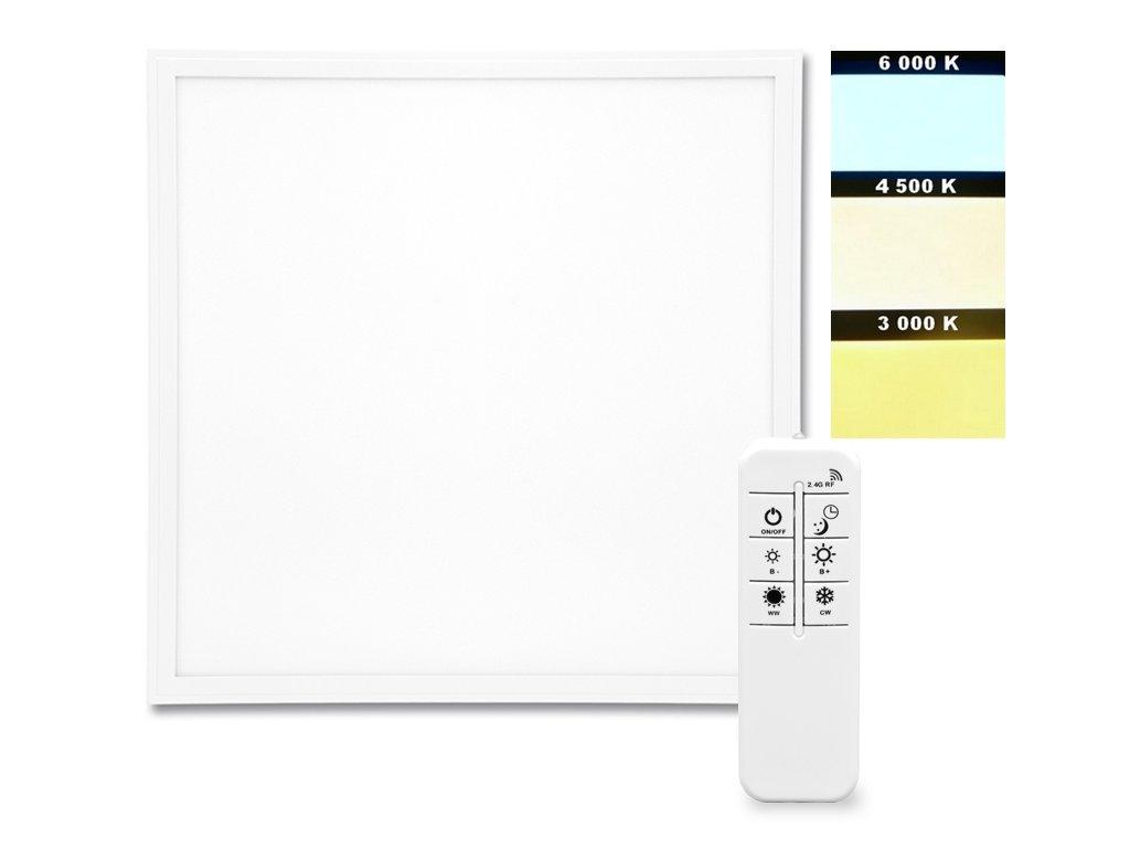 Vestavný LED panel ZEUS LED-GPL44-40/BI/CCT 60x60cm, určený primárně pro montáž do rastrových stropních podhledů. Stmívatelný zdroj a ovládání Bi- Color