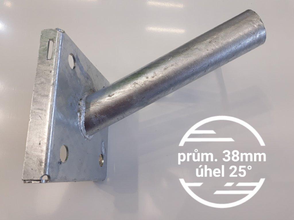 Výložník průměr 38mm sklon 25° pevný držák přídavný na sloup, stožár nebo zeď, stěnu na TopLux skladem