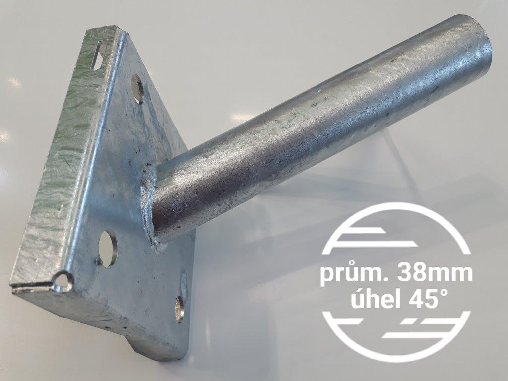 Výložník průměr 38mm sklon 45° pevný držák přídavný na sloup, stožár nebo zeď, stěnu
