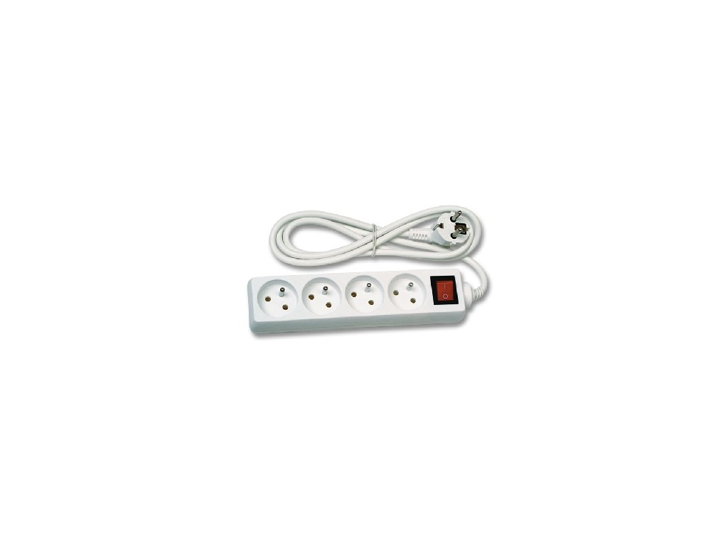 Prodlužovací kabel 3metru 4zásuvky s vypínačem bílá barvy TopLux Osvětlení Praha skladem dobrá cena sleva foto