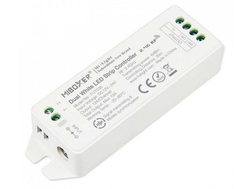 Mi Light přijímač pro dvoubarevné CCT LED pásky 12V 24V, 12A, 1xCH MiBoxer dualWhite