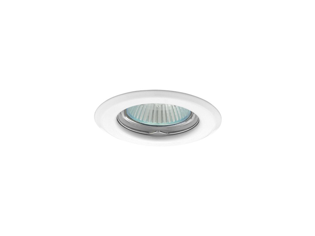 Bodové svítidlo do podhledu pevné bílé barvy kulaté kovové pro halogenové a LED žárovky MR16 GU10 patice objímka do stropu sádrokartonu dřeva nábytku s pérama pružinami TopLux Osvětlení Praha skladem levné dobrá cena