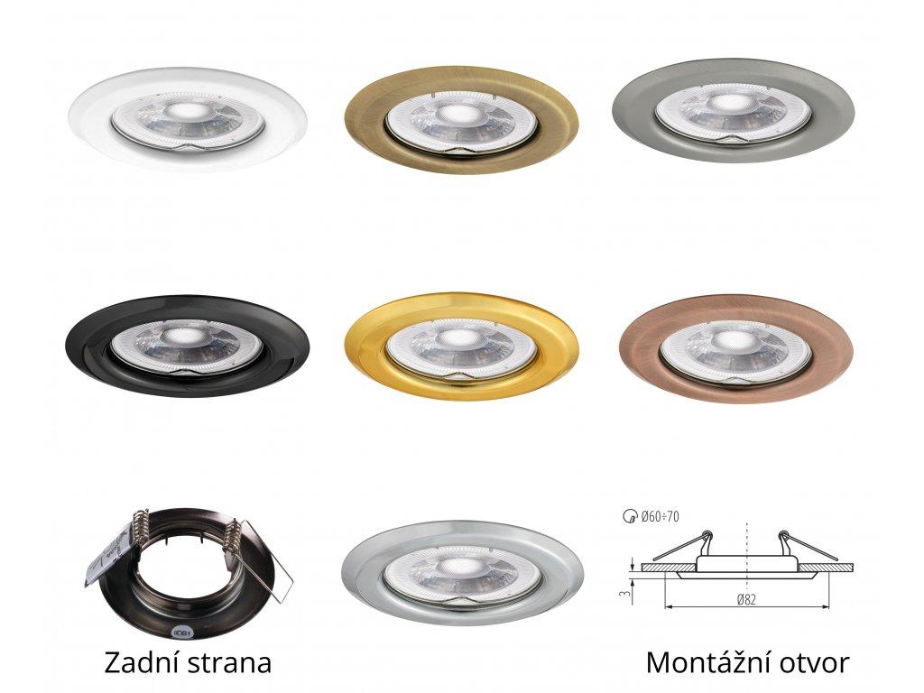 Bodové svítidlo do podhledu pevné zlaté barvy zlatá kulaté kovové pro halogenové a LED žárovky MR16 GU10 patice objímka do stropu sádrokartonu dřeva nábytku s pérama pružinami TopLux Osvětlení Praha skladem levné dobrá cena