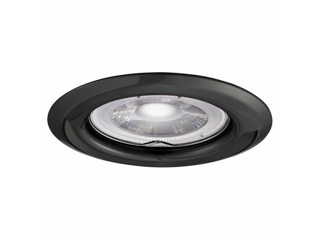 Bodové svítidlo do podhledu kovové s pružinou pro halogenové nebo LED žárovky MR16 GU10 objímka patice G5,3 do stropu sádrokartonu pevné černý chrom chromová černá barva