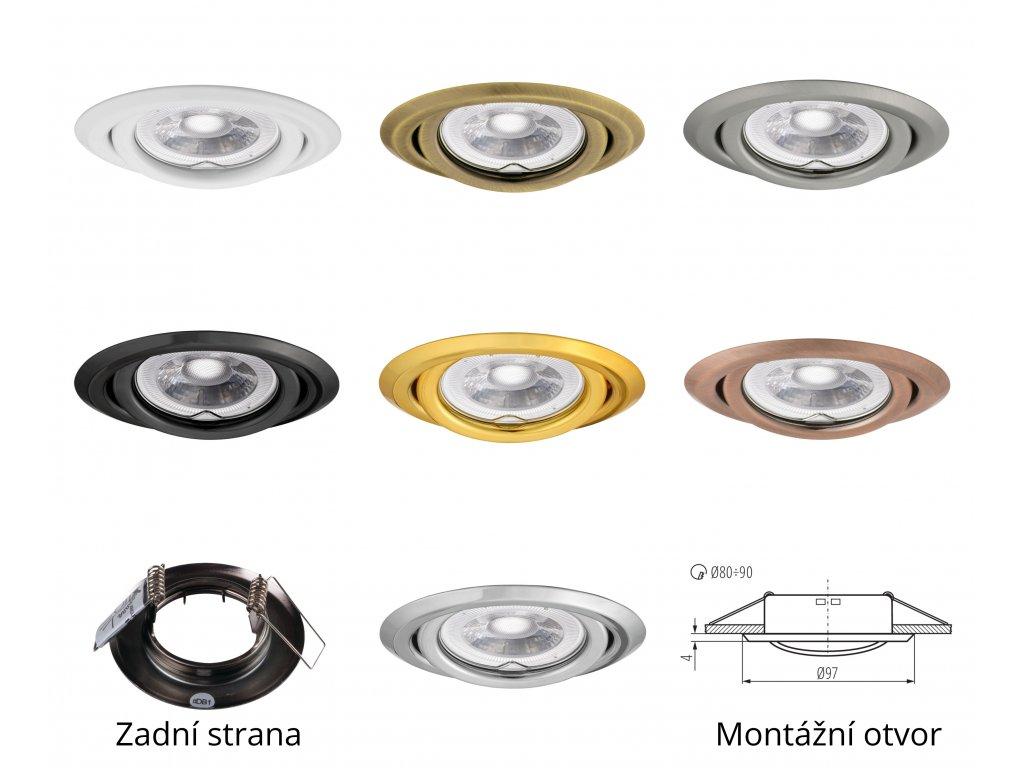 Bodové svítidlo do podhledu výklopné nastavitelné bílé barvy kulaté kovové pro halogenové a LED žárovky MR16 GU10 patice objímka do stropu sádrokartonu dřeva nábytku s pérama pružinami TopLux Osvětlení Praha skladem levné dobrá cena