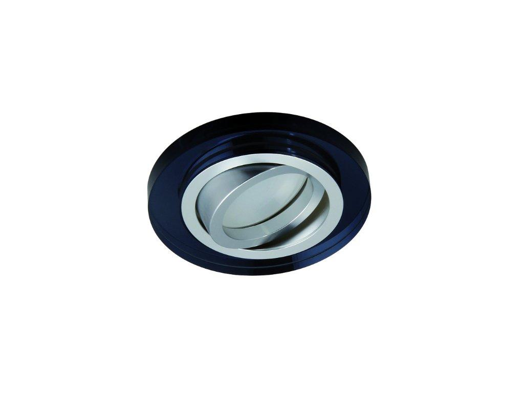 Bodové svítidlo do podhledu pevné černý černé sklo čtvercové hranaté broušené pro halogenové a LED žárovky MR16 GU10 patice objímka do stropu sádrokartonu dřeva nábytku s pérama pružinami TopLux Osvětlení Praha skladem levné dobrá cena
