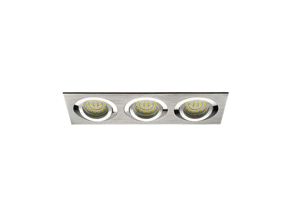 Stříbrná trojitá bodovka výklopná D10-3 leštěný hliník - podhledový trojrámeček pro 3ks LED žárovek. TopLux Praha skladem