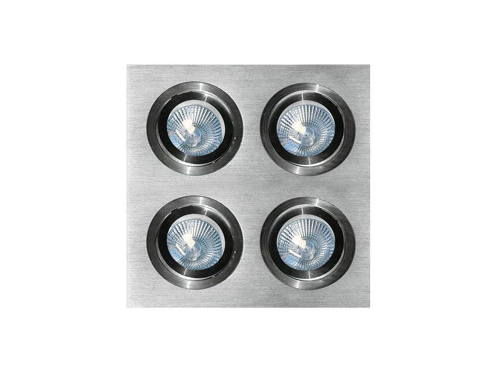 Bodové svítidlo čtverec do podhledu broušené leštěný hliník AL s pružinou čtvercové pro halogenové nebo LED žárovky MR16 GU10 objímka patice G5,3 do stropu sádrokartonu výklopné nastavitelné stríbrné lesklé barva pro 4 čtyři žárovky