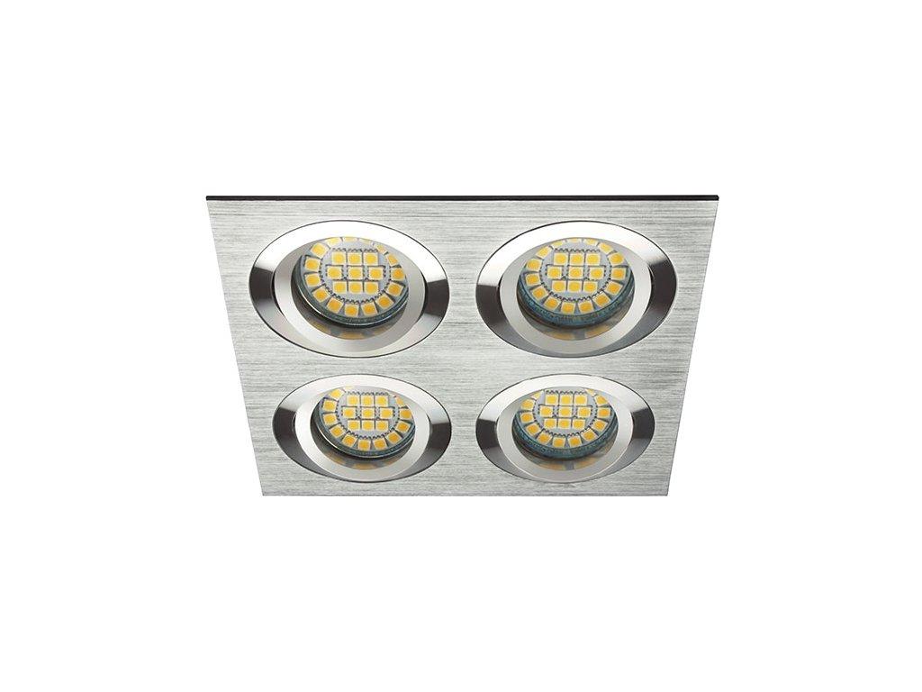 Stříbrná čtyř bodovka výklopná D10-4 leštěný hliník - podhledový čtyřrámeček pro 4ks LED žárovek. TopLux Praha skladem