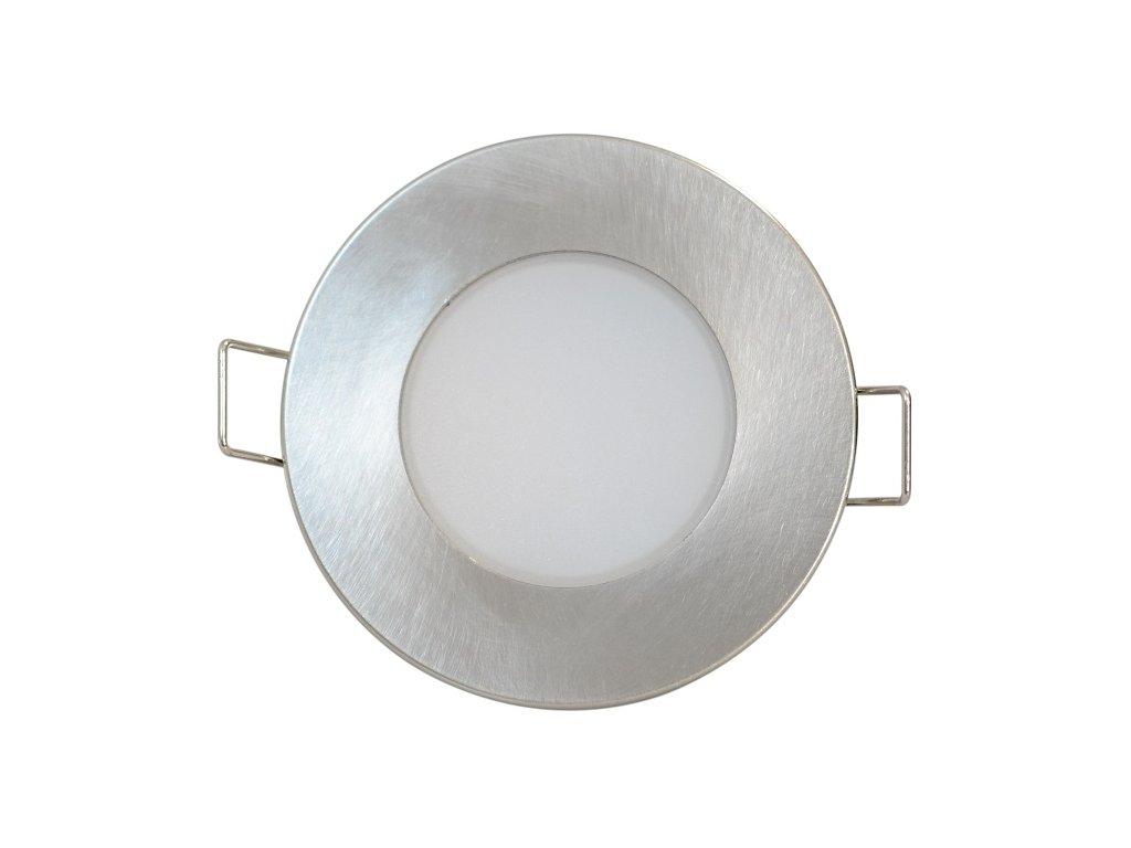 LED stropní svítidlo UFO 5W IP65 do koupelny ven odolné proti vodě, světlo do podhledu sádrokartonu stropu kulaté kruhové s pružinami pro zapuštění do stropu stříbrné chromované barvy TopLux kvalita cena skladem