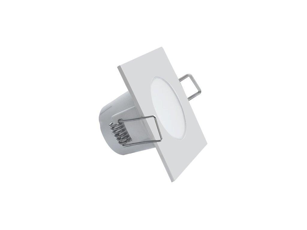 LED stropní svítidlo UFO 5W IP65 do koupelny ven odolné proti vodě, světlo do podhledu sádrokartonu stropu čtvercové hranaté s pružinami pro zapuštění do stropu bílé bílá barvy TopLux kvalita cena skladem