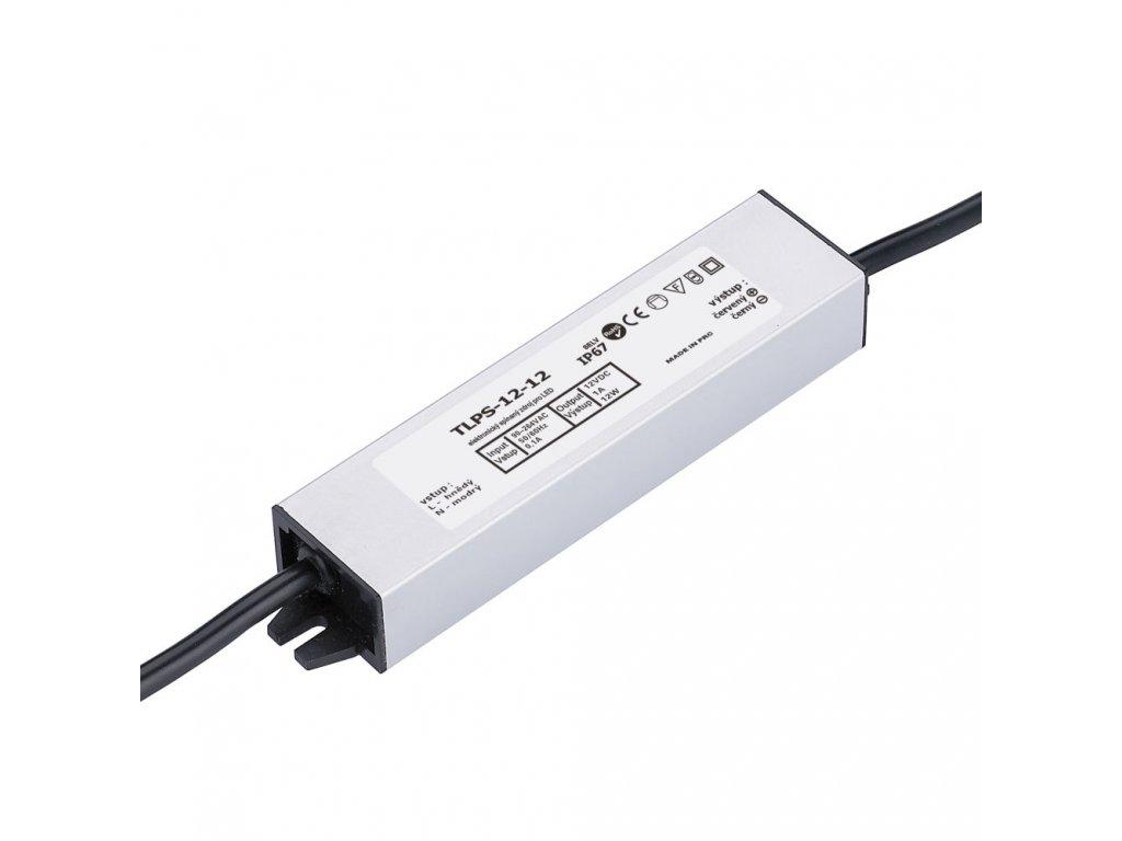 LED trafo zdroj 12V 12W IP67 vodotěsné venkovní pro LED pásky stříbrné TopLux Osvětlení Praha skladem na prodejně nízká cena kvalita ihned