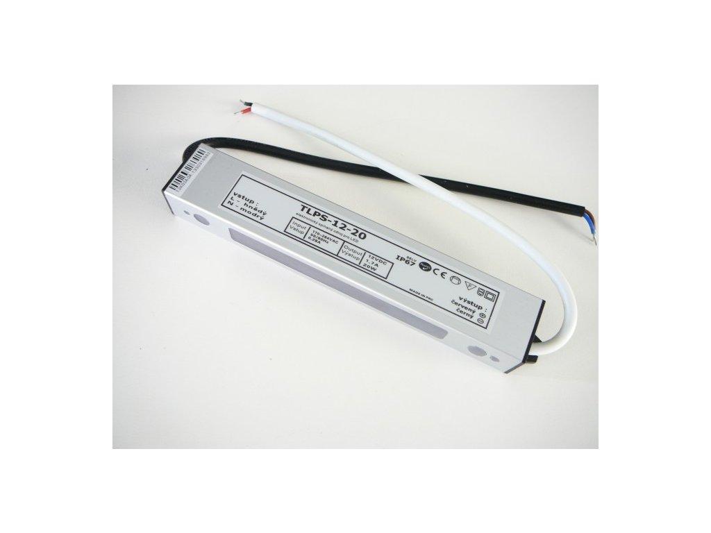LED trafo zdroj 12V 20W IP67 vodotěsné venkovní pro LED pásky stříbrné TopLux Osvětlení Praha skladem na prodejně nízká cena kvalita ihned