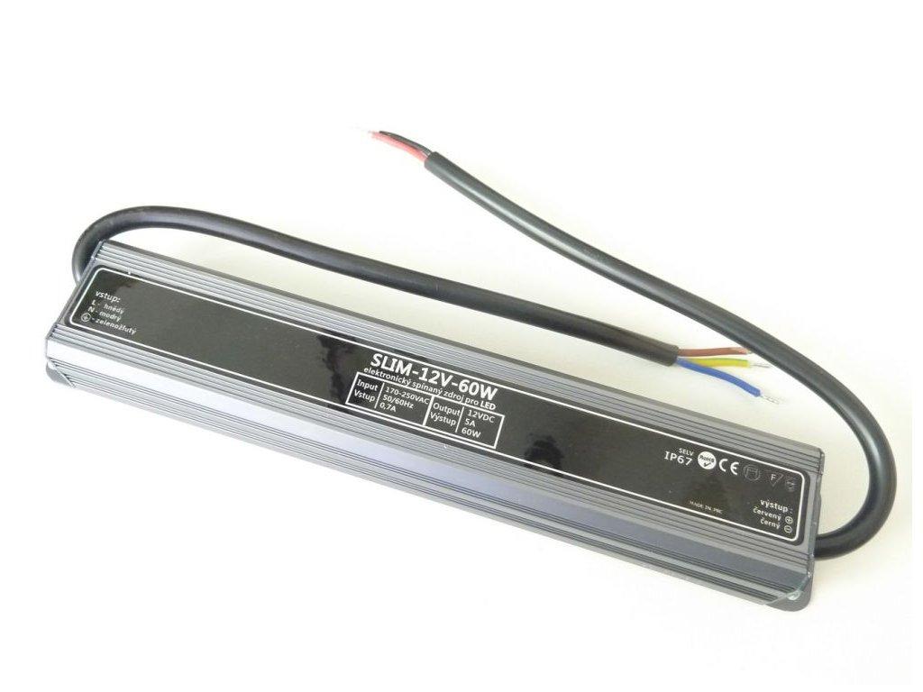 LED napájecí zdroj 12V 60W pro LED osvětlení - vodotěsné trafo 5A IP67