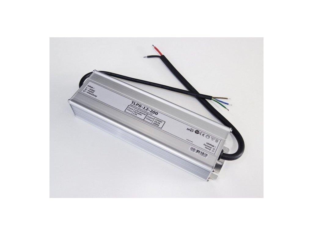 LED trafo zdroj 12V 200W IP67 vodotěsné venkovní pro LED pásky stříbrné TopLux Osvětlení Praha skladem na prodejně nízká cena kvalita ihned