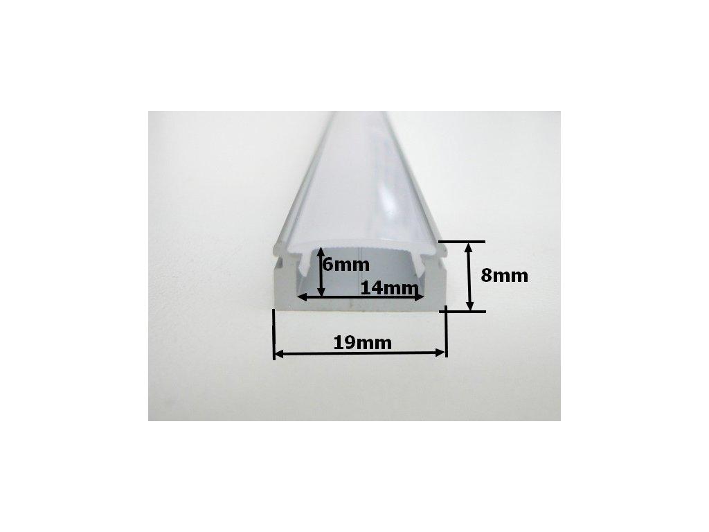 Hliníkový profil N8 chladící lišta pro LED pásek standartní levná s krytem difuzorem rozměry TopLux Osvětlení Praha skladem