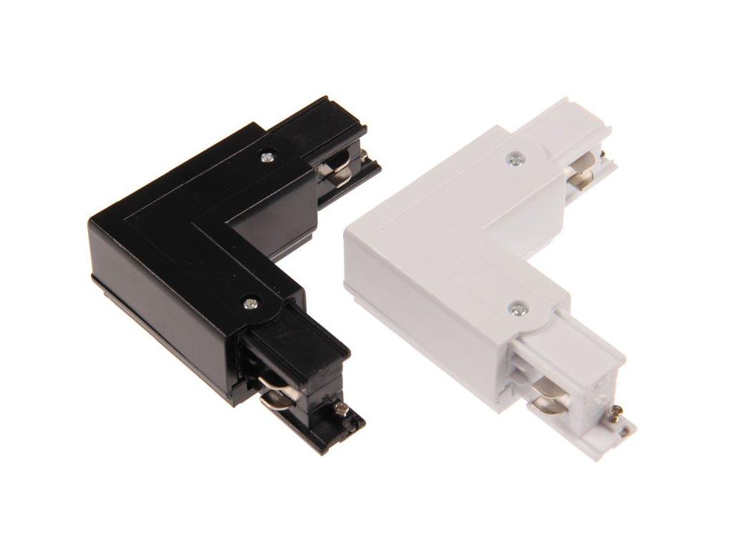 Třífázová napájecí spojka L rohová pro TRACK LIGHT  Barva bílá/černá, možnost připojení napájení  Standartní běžný rozměr a provedení