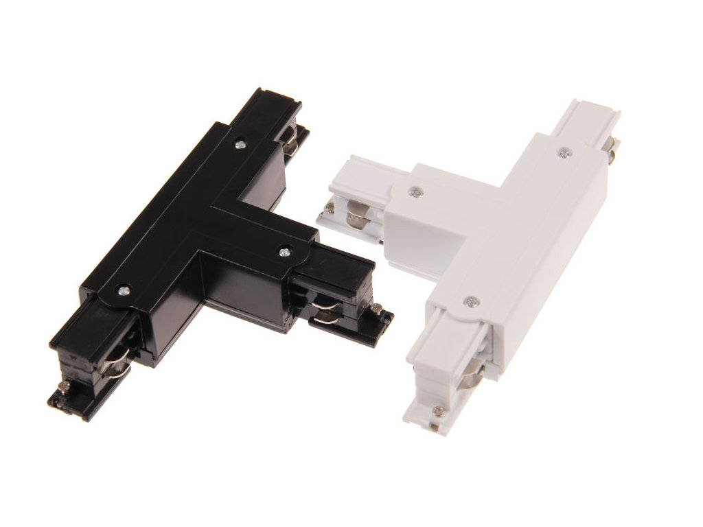 Třífázová napájecí spojka T rozbočná pro TRACK LIGHT  Barva bílá/černá, možnost připojení napájení  Standartní běžný rozměr a provedení