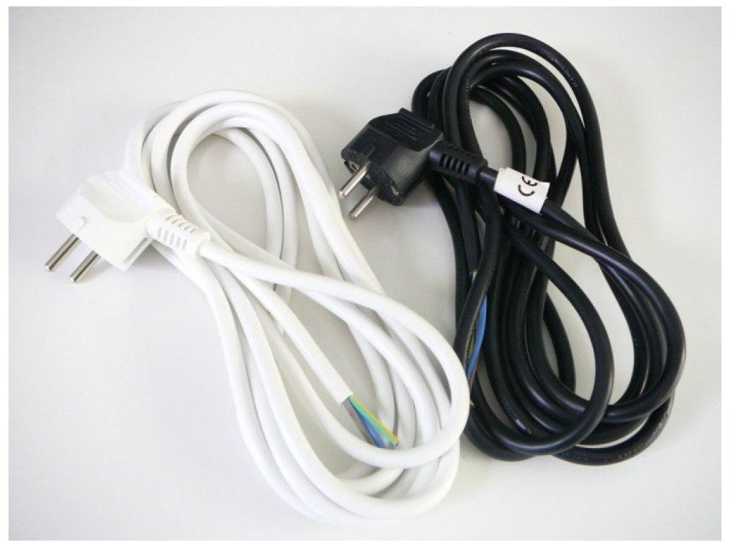 Třížilový napájecí kabel 3x1mm  Délka 2 metry se zástrčkou  Barva bílá nebo černá