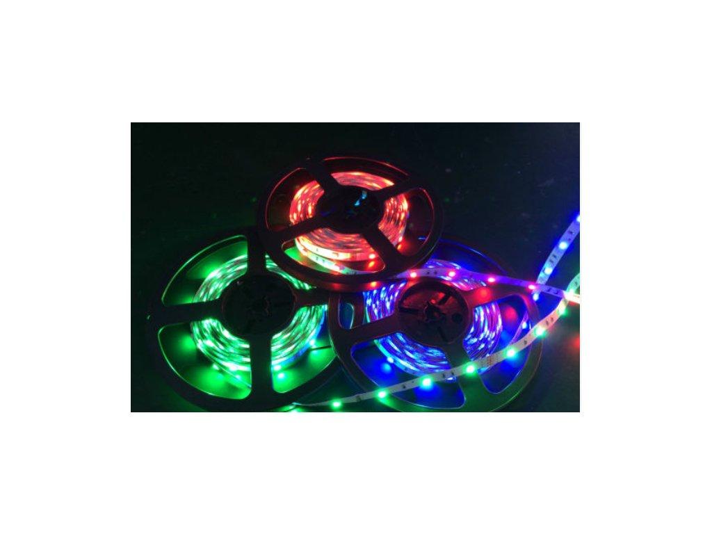 RGB LED pásek 12V 7,2W/m, střední svítivost, IP50 venkovní