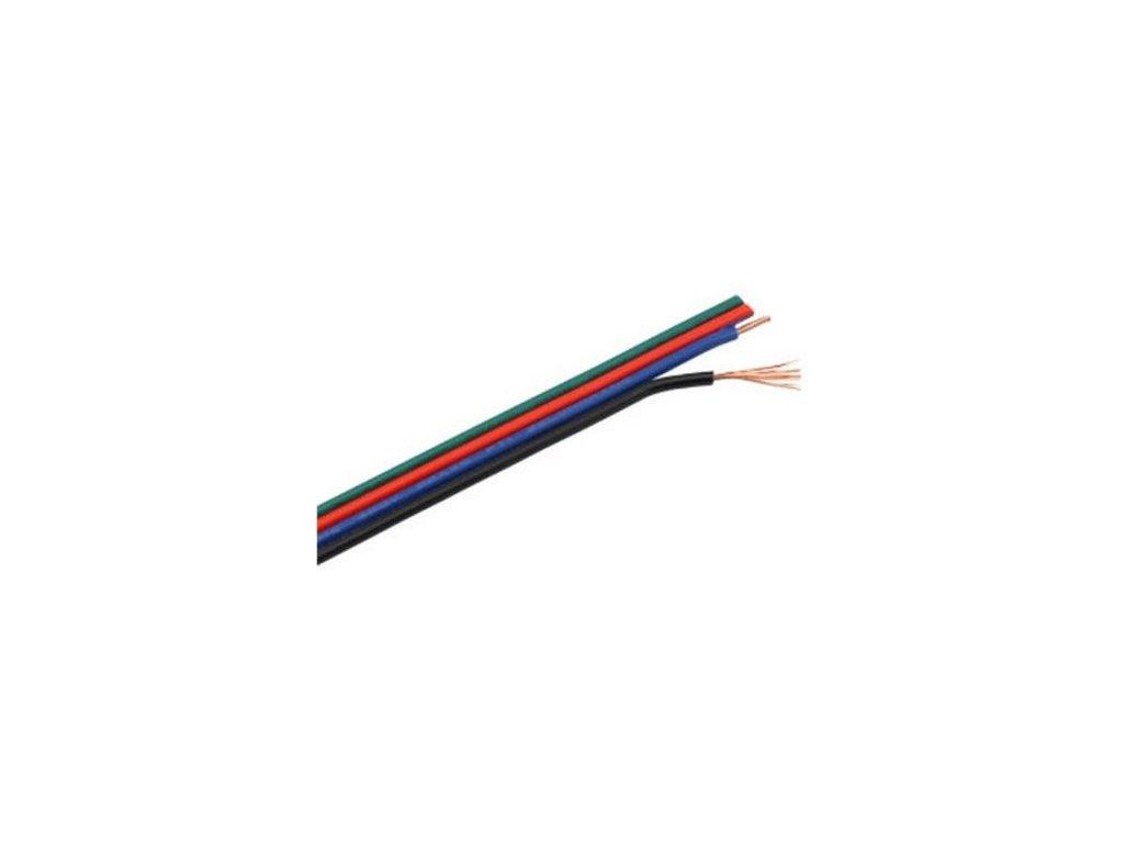 RGB kabel plochý 4x0,3mm Doporučené max. napětí 50V Max. zatížení 12V 72W, 24V 144W