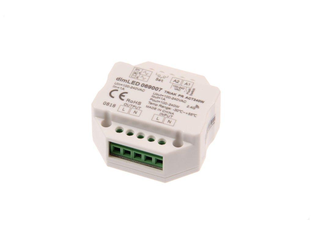 Manuální i dálkový triakový stmívač pro LED svítidla, RF přijímač stmívač LED 1 x 1 A 100-240 V AC, maximální zatížení 240 W, pro dálkové ovladače dimLED, dosah až 30 m, paměť posledního nastavení, rozměry 52 x 25 mm (š x v)