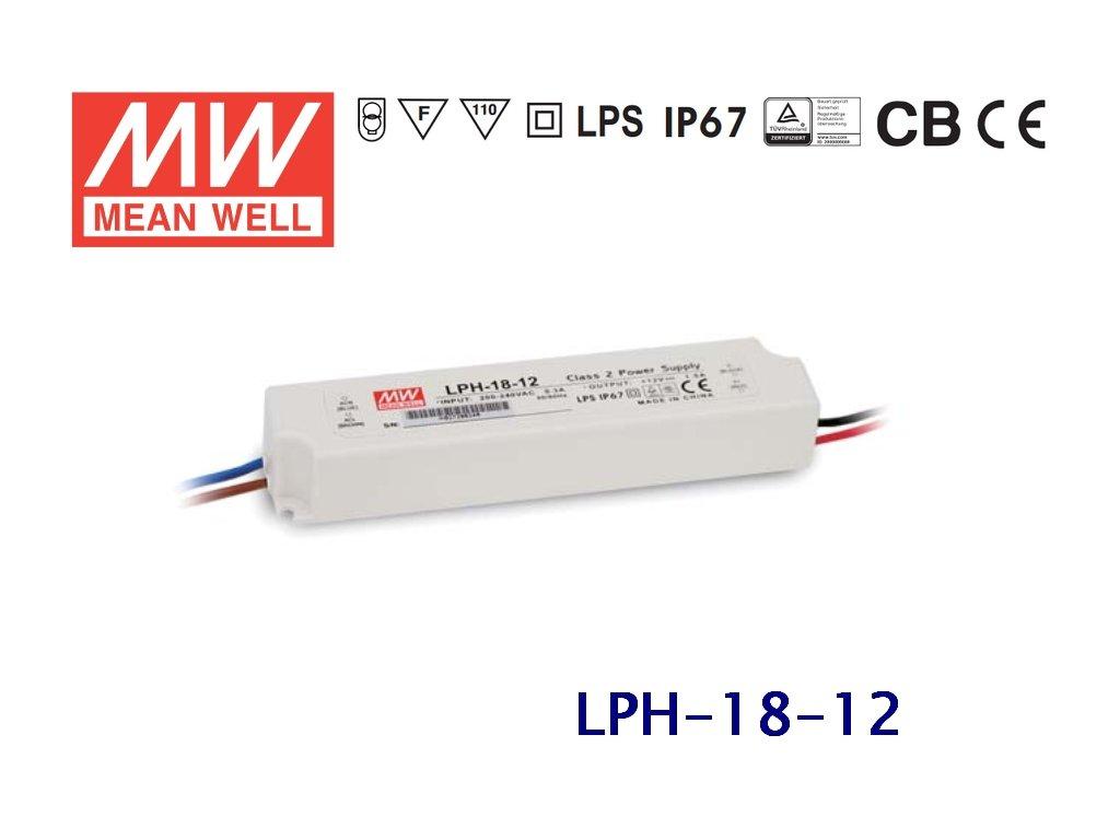 LED zdroj MeanWell 18W 230V 12V trafo pro LED pásky a moduly