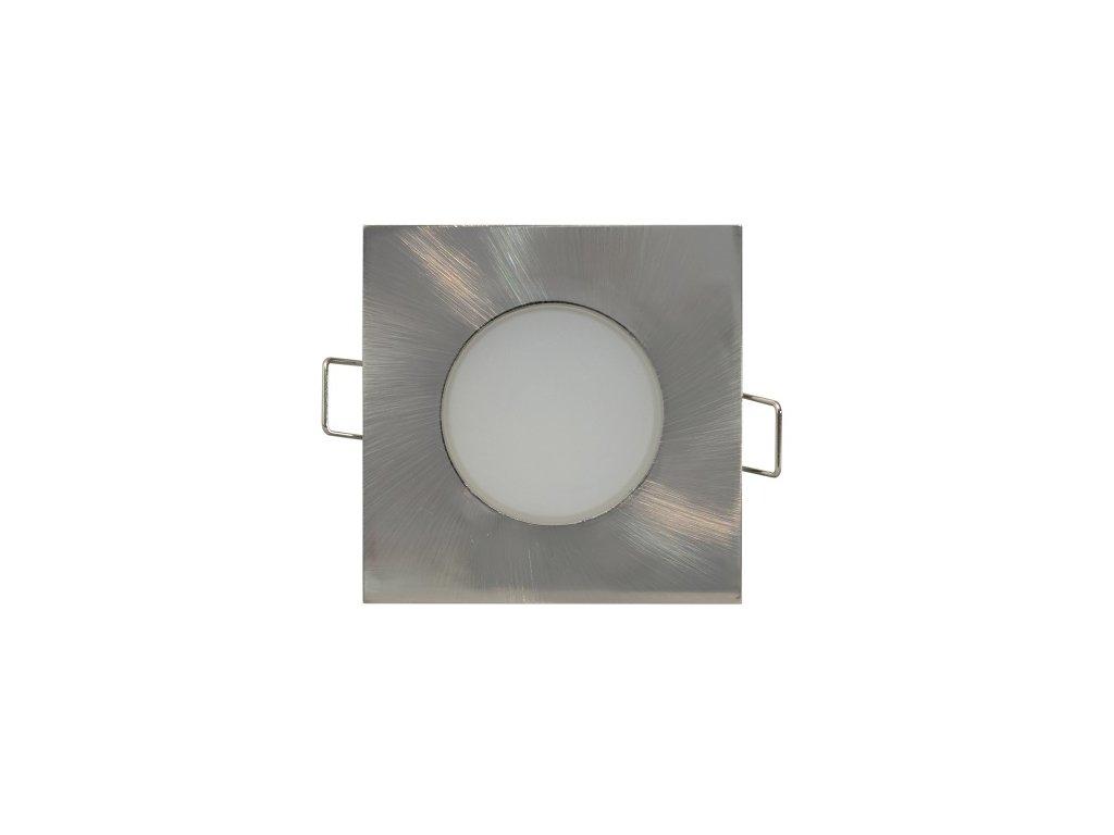 LED svítidlo BONO stříbrné čtvercové 5W IP65 bodovka do koupelny
