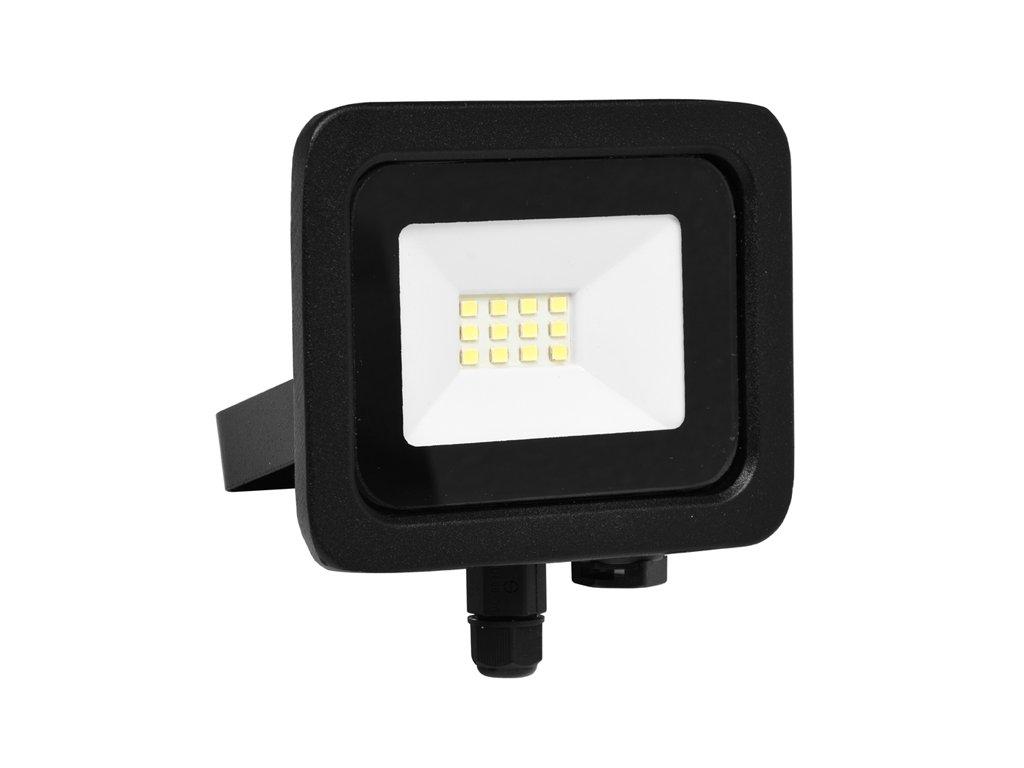 LED reflektor 10 W, náhrada za halogen 60 W, krytí IP65, rozměry13 x 9,4 x 4 cm, svítivost 800 lm, barva světla studená bílá, 5 000 K, materiál hliník/sklo, 14x LED čip SMD2835, vyzařovací úhel 120°, úzké SLIM provedení