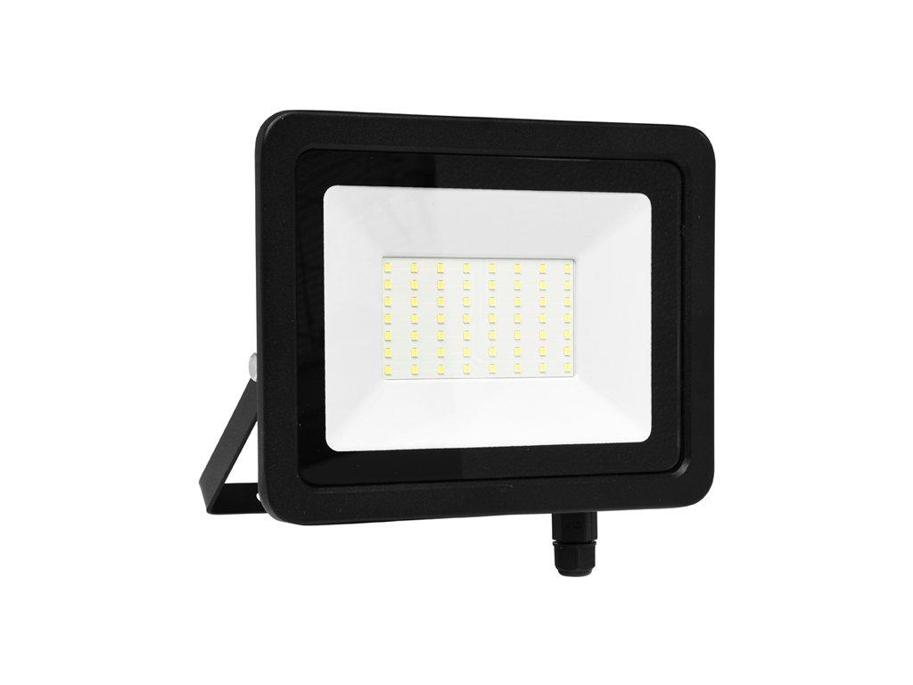 LED reflektor 50 W, náhrada za halogen 300 W, krytí IP65, rozměry 27,5x 20,5 x 4 cm, svítivost 4 100 lm, barva světla studená bílá, 5 000 K, materiál hliník/sklo, 168x LED čip SMD2835, vyzařovací úhel 120°, úzké SLIM provedení