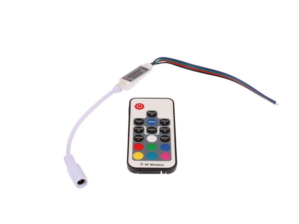 LED ovladač dálkový radiofrekvenční na barevný LED pásek model 17B s funkcí stmívání, změnou barev a mnoha programy 12V - 24V 063322