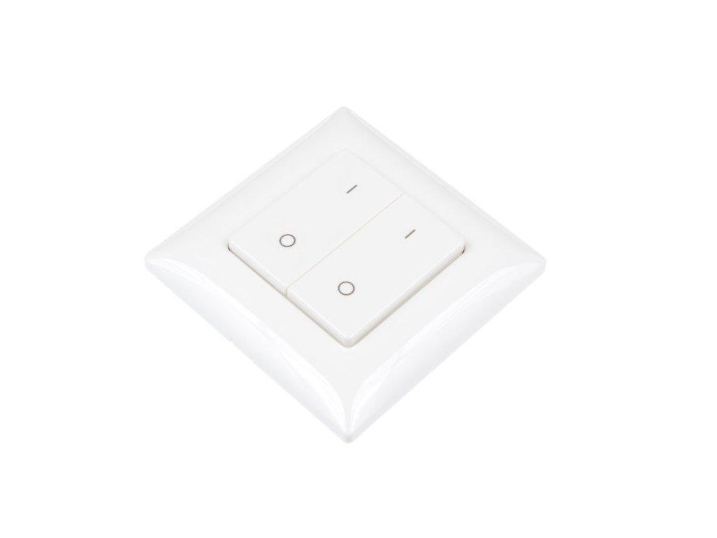 LED dálkový ovladač dvoukanálový OV HN2K, dálkové RF radiofrekvenční ovládání, nový design a funkce, rozměry 50 x 50 x 12 mm, dosah ovladače až 30 m