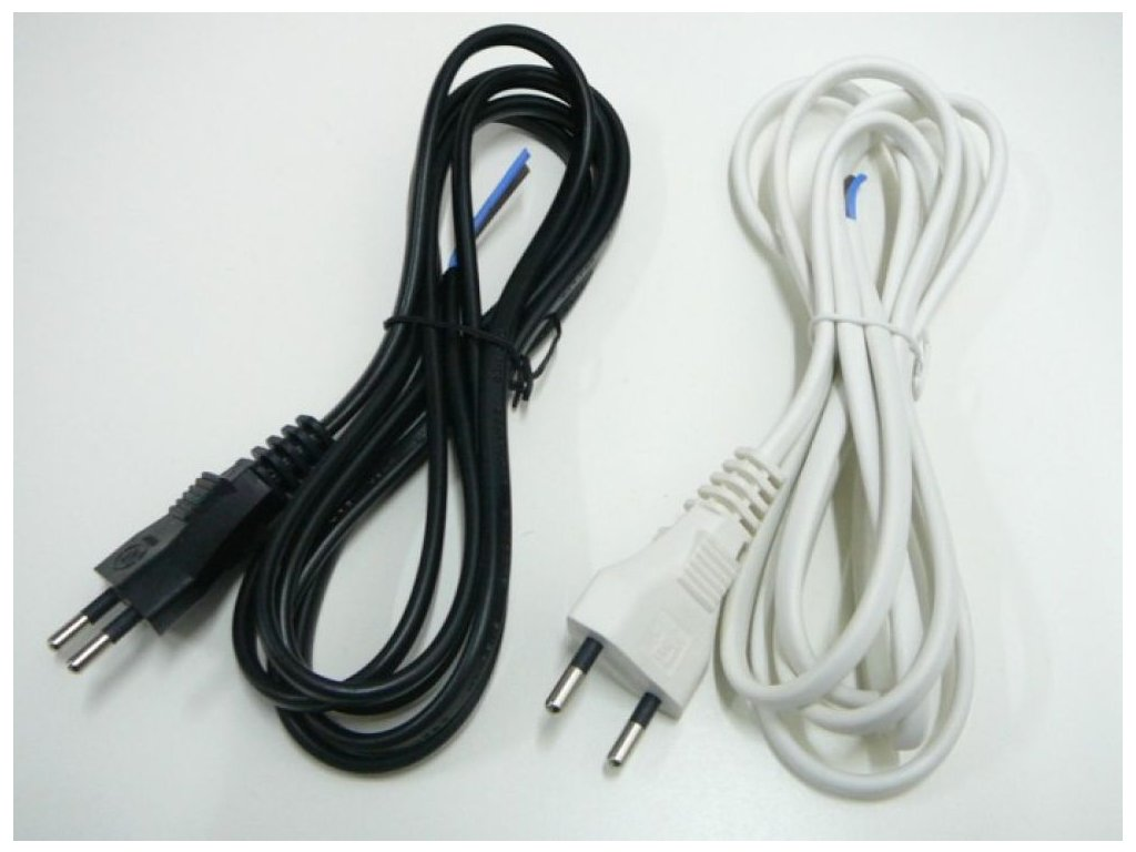 Dvojžilový napájecí kabel 2x0,75mm  Délka 3 metry se zástrčkou  Barva bílá nebo černá