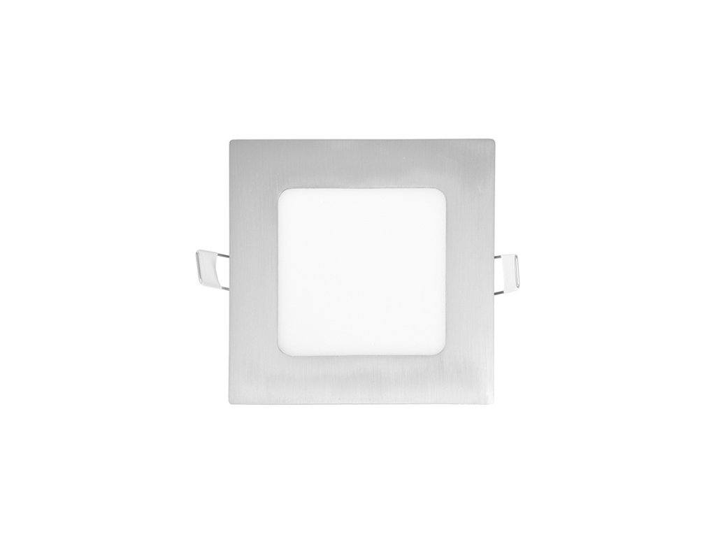 LED panel 6 W, krytí IP20 - pro vnitřní prostředí, rozměry 120 x 120 mm, montážní otvor 105 x 105 mm, svítivost 440 lm, 4 100 K, barva světla neutrální bílá, čtvercové svítidlo vestavné, materiál hliník/plast, barva rámu CHROM lesklý, včetně pružin a trafa