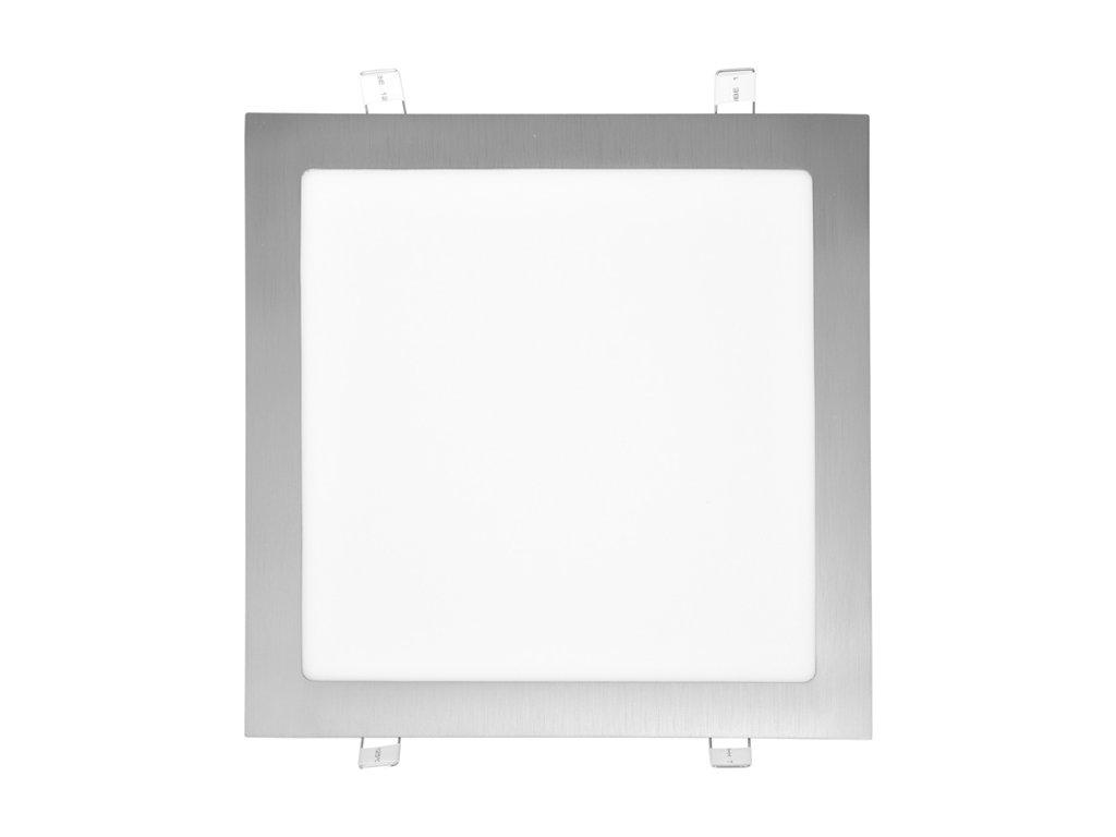 LED panel 25 W, krytí IP20 - pro vnitřní prostředí, rozměry 300 x 300 mm, montážní otvor 280 x 280 mm, svítivost 2 260 lm, 4 100 K, barva světla neutrální bílá, čtvercové svítidlo vestavné, materiál hliník/plast, barva rámu CHROM lesklý, včetně pružin a trafa