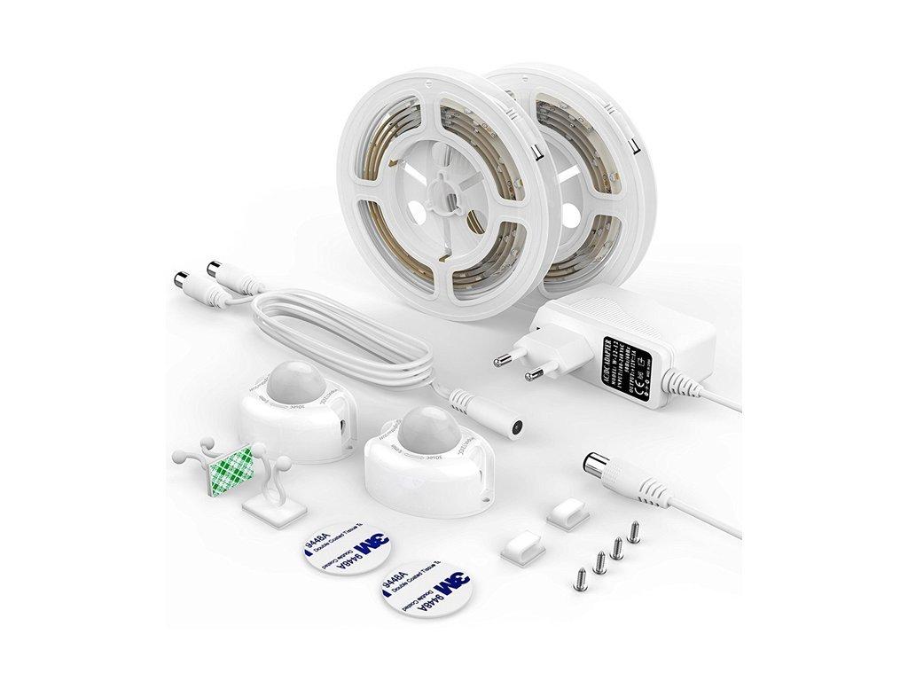 LED SADA DX CDA 1 LED pásek 2x120cm s čidlem pohybu a senzorem setmění pod postel, noční automatické svícení, kompletní světelná sada do zásuvky oboustranná jednobarevná p