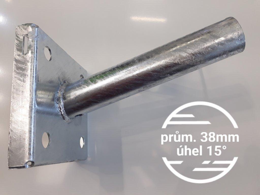 Výložník průměr 38mm sklon 15° pevný držák přídavný na sloup, stožár nebo zeď, stěnu na TopLux Praha skladem