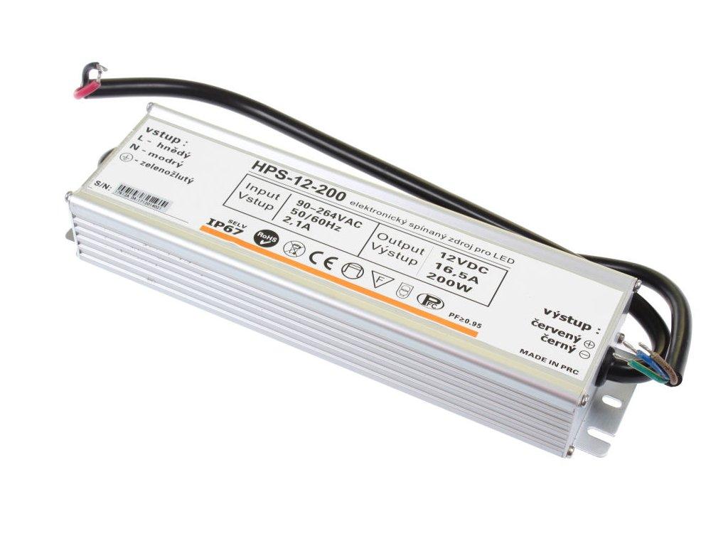 LED napájecí zdroj HPS 12V 200W pro LED pásky - voděodolné trafo 16,5A IP67 - Záruka 5let 051125