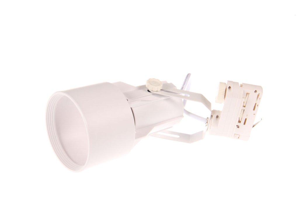 Třífázové lištové svítidlo JET-T TRACK LIGHT 3F - pro LED žárovku PAR30 E27 230V bílé 105604 Lištové kolejnicová stropní svítidla/reflektory bílé pro 3 fázové lišty nasazovací nacvakávací  světla TRACK Light pro žárovku s paticí E27, LED bodové světlo 24° úsporná lampa, do prodejny, krámu, studiu, atelieru, kolejnicový systém TopLux Osvětlení Praha, Libeň, Sokolovská - skladem na prodejně za levné nízké ceny