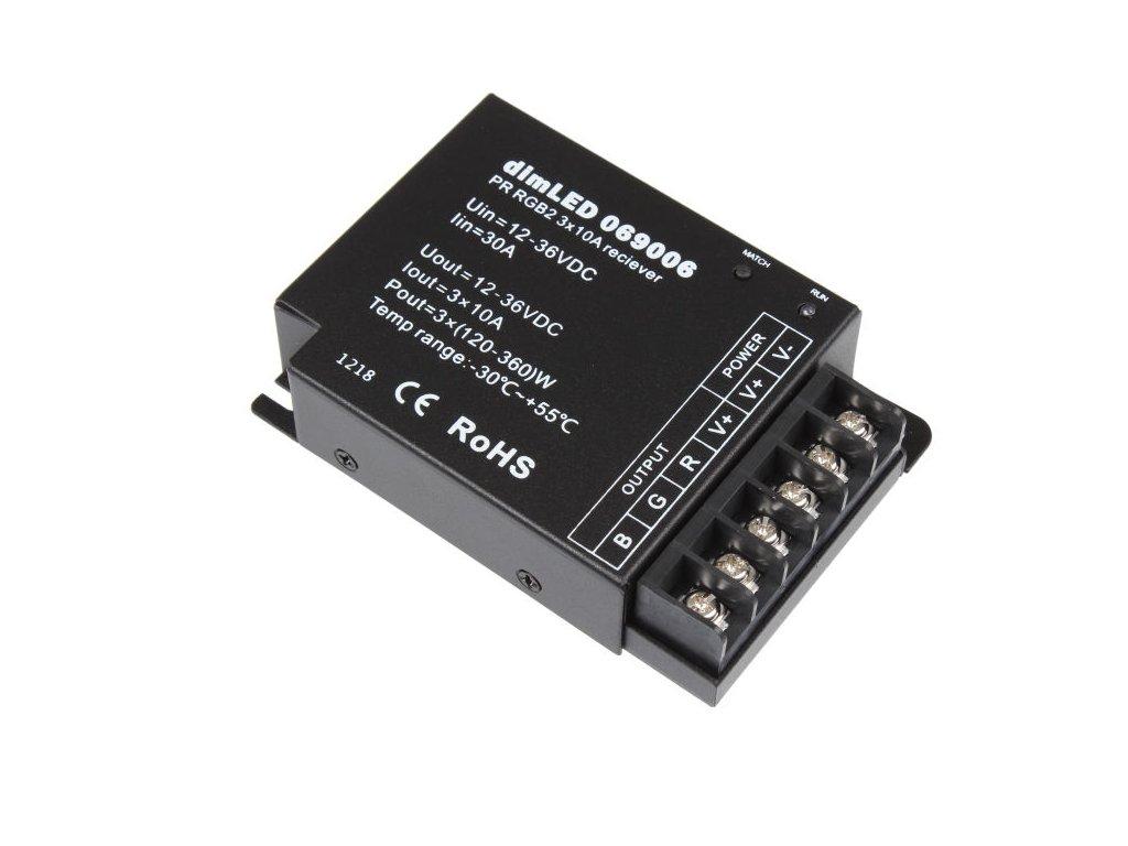 RGB RF přijímač stmívač LED 3x10 A 5-24 V DC, max. zatížení 12 V 360 W a 24 V 720 W, kompatibilní s RGB ovladači řady dimLED, rozměry 110 x 75 x 25 mm, dosah až 30 m