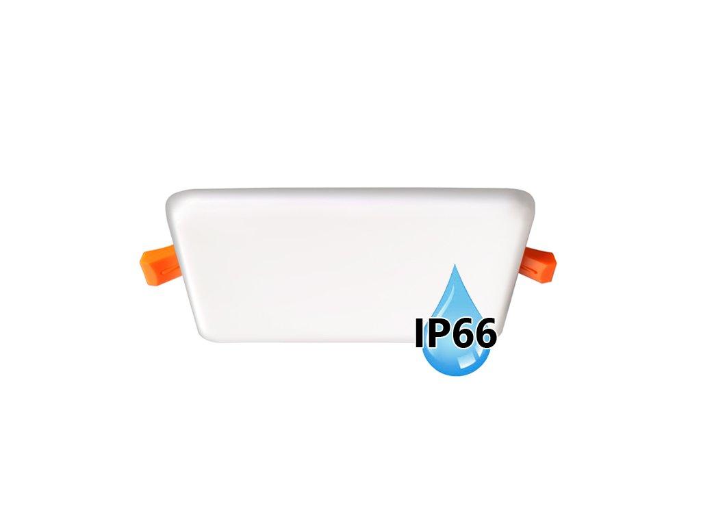 Koupelnový vestavný hranatý LED panel 11W do podhledu/sádrokartonu, rozměry 125x125 mm, montážní otvor s průměrem 105 mm, barva BÍLÁ standard, barva světla denní 4000 K, včetně pružin a trafa