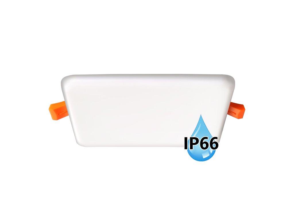 Koupelnový vestavný hranatý LED panel 22W do podhledu/sádrokartonu, rozměry 185x185 mm, montážní otvor s průměrem 165 mm, barva BÍLÁ standard, barva světla denní 4000 K, včetně pružin a trafa