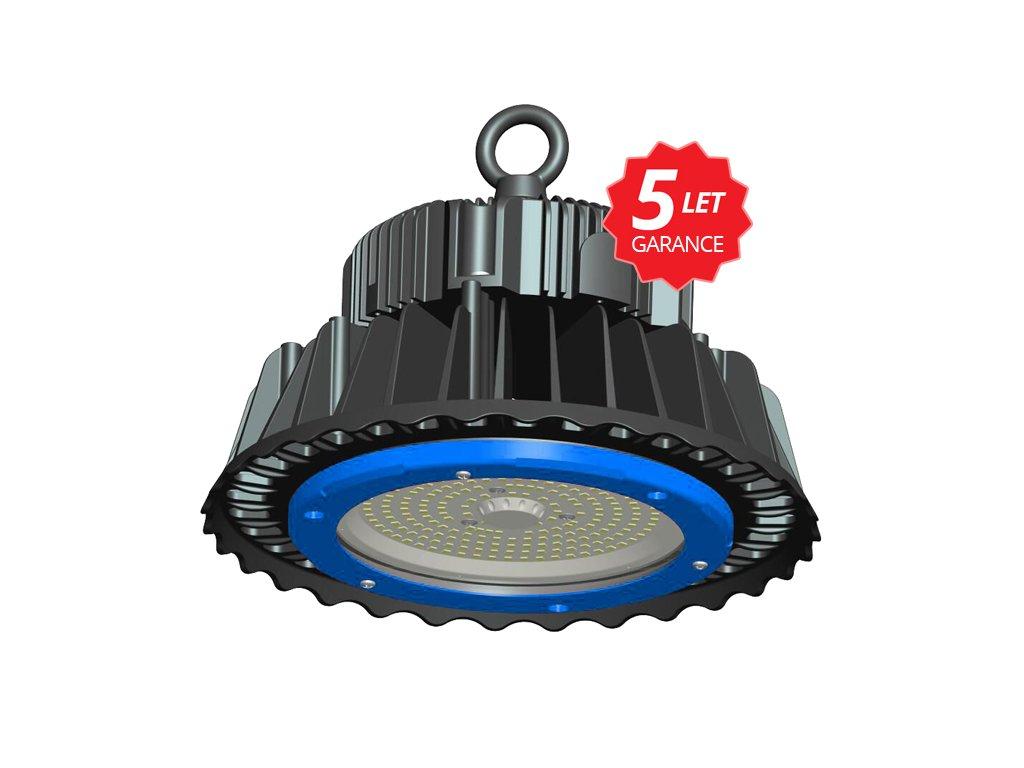 LED průmyslové svítidlo 100W, krytí IP65a IK08, rozměry⌀26,6 x 18,6 cm, barva světla 5000 K, studená bílá, životnost 50 000 h, svítivost 13 500 lm, úhel svitu 120°