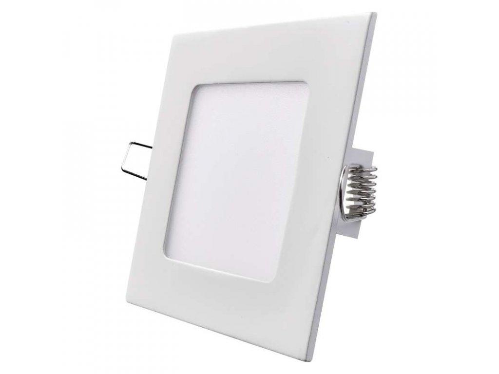 LED panel 6 W, krytí IP20 - pro vnitřní prostředí, rozměry120 × 120 × 21 mm, náhrada za žárovku 40 W, svítivost 450 lm, 4 000 K, barva světla neutrální bílá, čtvercové svítidlo vestavné