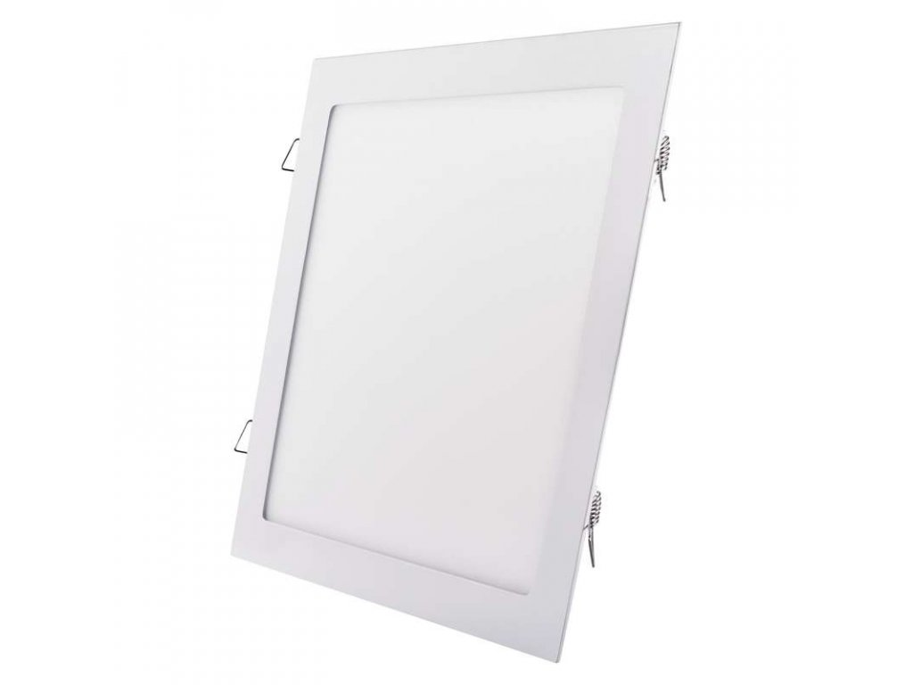 LED panel 24 W, krytí IP20 - pro vnitřní prostředí, rozměry297 × 297 × 21 mm, náhrada za žárovku 125 W, svítivost 2 000 lm, 3 000 K, barva světla teplá bílá, čtvercové svítidlo vestavné