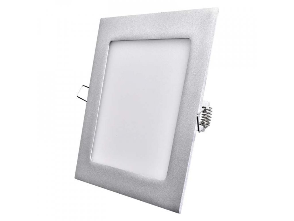 Stříbrný LED panel Emos VH 12W čtverec vestavný neutrální bílá ZD2232