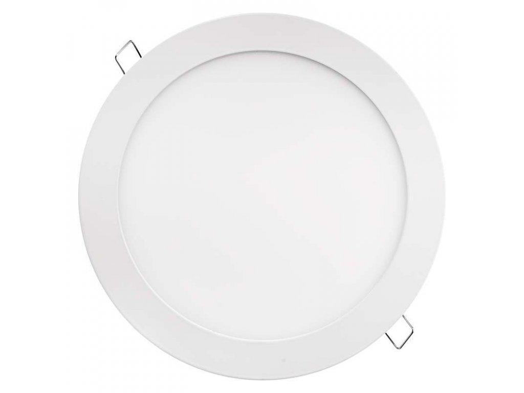 LED panel 18 W, krytí IP20 - pro vnitřní prostředí, rozměry:průměr 225 × 21 mm, náhrada za žárovku 100 W, svítivost 1 500 lm, 3 000 K, barva světla teplá bílá, kruhové svítidlo vestavné