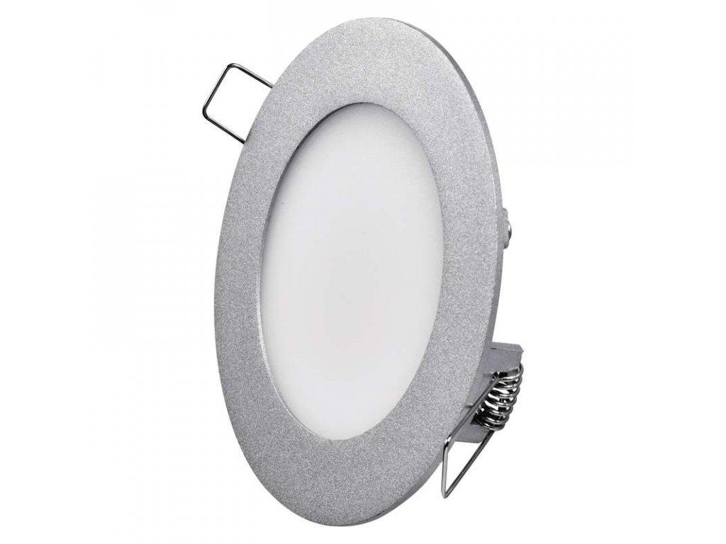 Stříbrný LED panel Emos VK 6W kruh vestavný neutrální bílá ZD1222