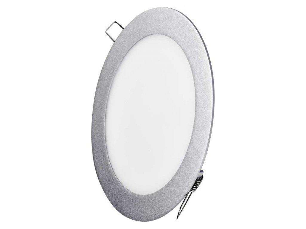LED panel 12 W, krytí IP20 - pro vnitřní prostředí, rozměry:průměr 175 × 21 mm, náhrada za žárovku 70 W, svítivost 1 000 lm, 4 000 K, barva světla neutrální bílá, kruhové svítidlo vestavné, elegantní stříbrné provedení