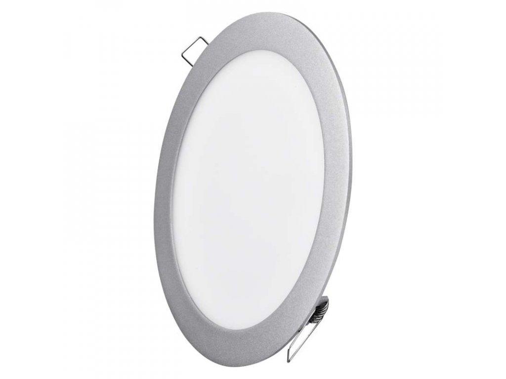 LED panel 18 W, krytí IP20 - pro vnitřní prostředí, rozměry: průměr 225 × 21 mm, náhrada za žárovku 100 W, svítivost 1 500 lm, 4 000 K, barva světla neutrální bílá, kruhové svítidlo vestavné, elegantní stříbrné provedení